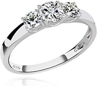 925 Sterling Silver Round Cubic Zirconia 3-Stone Ring Wedding Jewelry Hola CZ Bridal Ring for Women