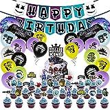 41 Pcs Spiel Partyzubehör Set, Hilloly Video Gaming Geburtstagsdeko, Geburtstag Dekoration Set Videospiel Folienballons Geburtstag Party Kuchen Flagge Cupcake-Topper