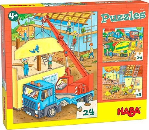 HABA 305469 - Puzzles Auf der Baustelle, Puzzlesammlung mit 3 Baustellen-Motiven für Kinder ab 4 Jahren, Baustellenpuzzles mit je 24 Teilen zum Training der Konzentration und Feinmotorik