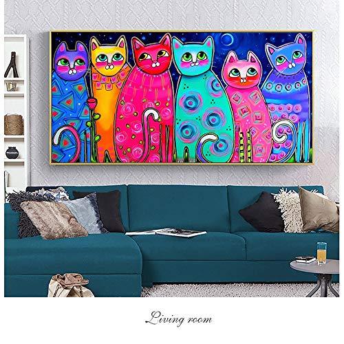 Quadro Senza Cornice Stampe colorate su Tela di Gatto e stampe Decorative su Tela Pop Art per Poster da Camera per bambini30X60cm