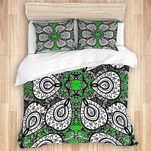Juego de funda nórdica de 3 piezas, lindo adorno floral negro, blanco y verde en estilo barroco, diseño de damasco antiguo, juegos de fundas de edredón para dormitorio, colcha con cremallera con 2 fun
