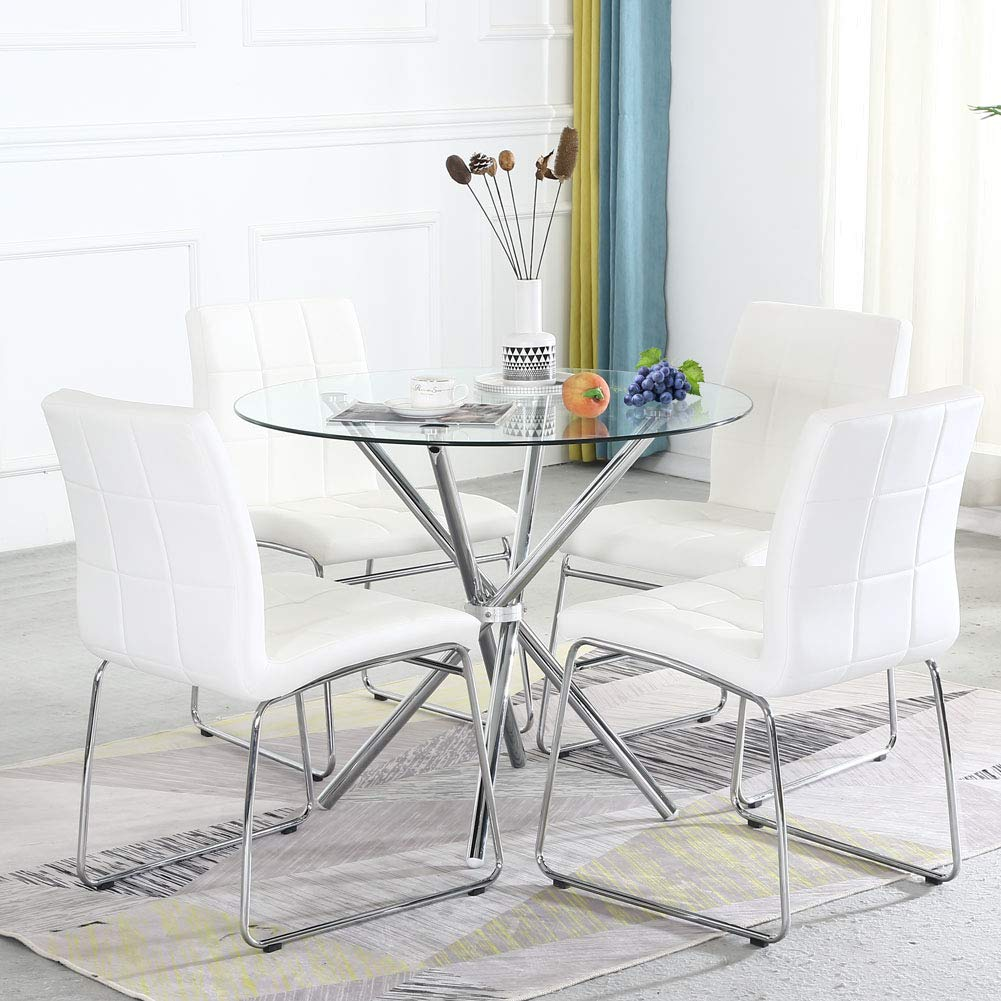Dining Table Set for 9,Modern Kitchen Table and Chairs for Small  Space,Round Glass Dining Table+Faux Leather Dining Room Chairs Set of 9  Pieces,Easy ...
