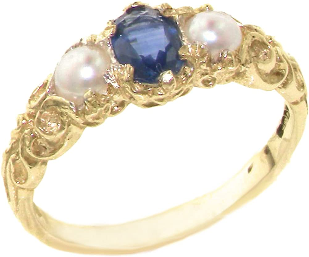 LetsBuyGold 10k Yellow Gold Real Genuine Sapphire & Cultured Pearl Womens Band Ring