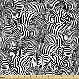Lunarable Zebra-Stoff von The Yard, Savannah Fauna Herd mit