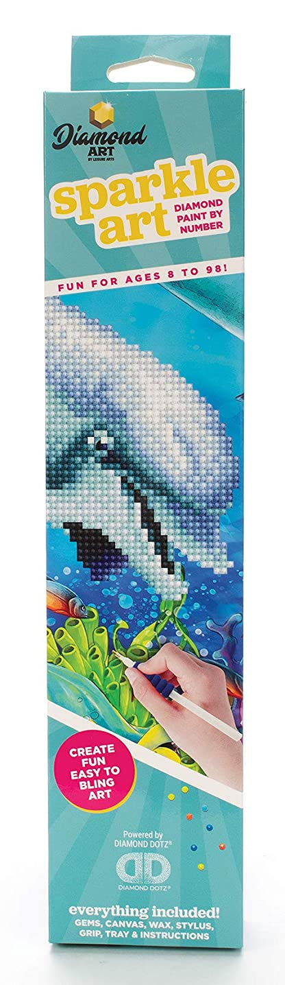 Leisure Arts - Diamond Art Sparkle Art Diamond Paint by Number Dolphin Kit – 5D Pixel Painting DIY Arts and Crafts for Kids Canvas Wall Décor