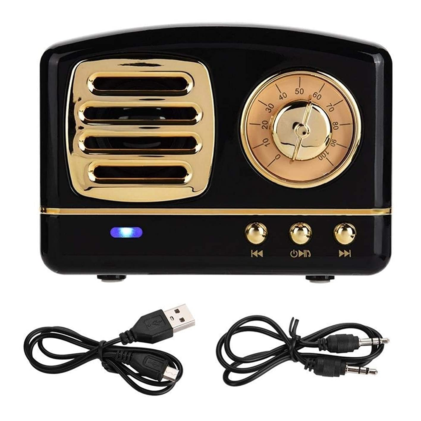剪断助けになる亡命ミニBluetooth V4.1ワイヤレスレトロHIFIラジオスピーカーポータブルサブウーファー音楽プレーヤーサポートTFカード、USB充電 (Color : Black)