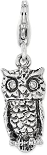 925 Sterling Silver Cubic Zirconia Cz 3d Owl Lobster Clasp Pendant Charm Necklace Bird Fine Jewelry Gifts For Women For Her
