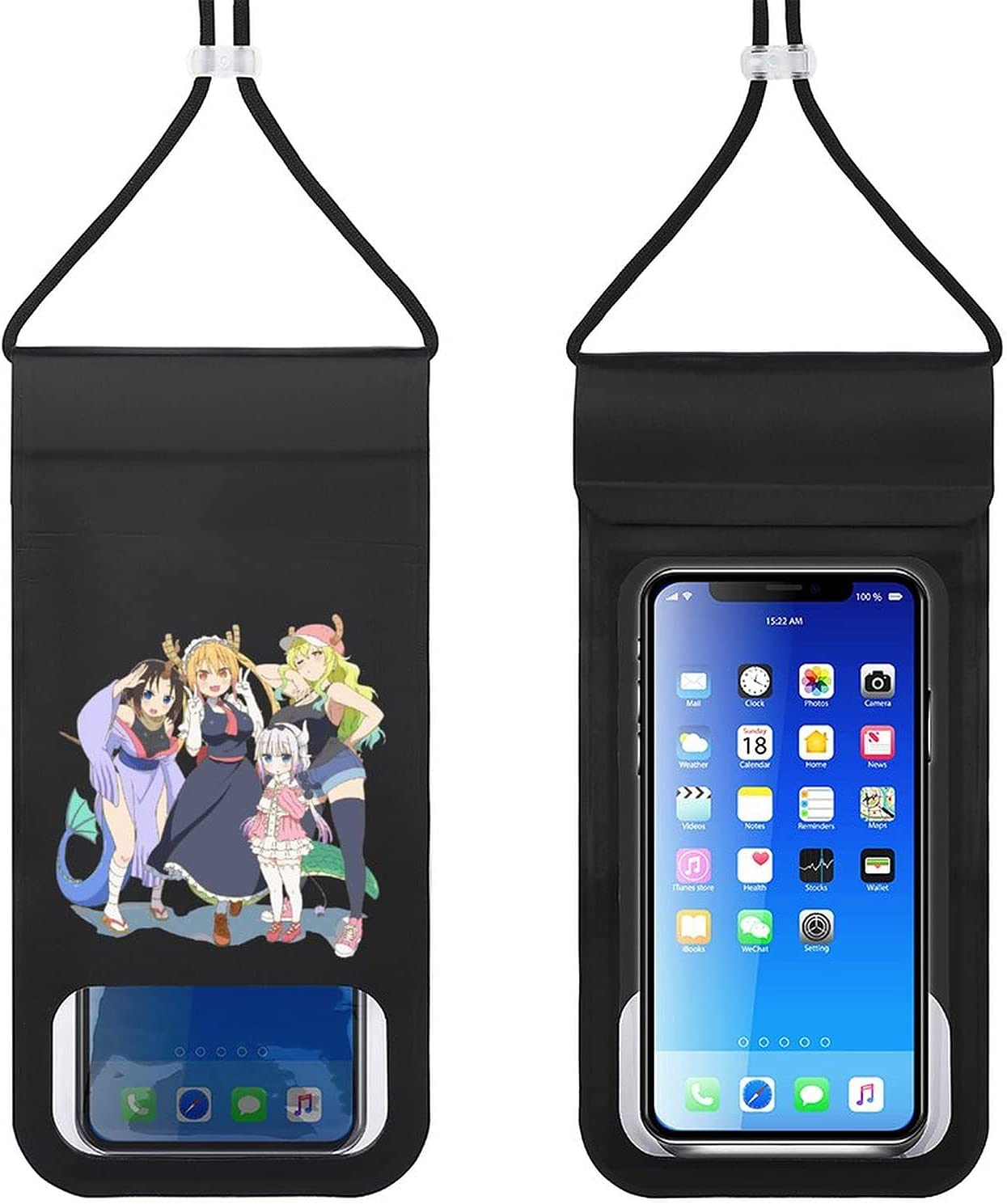 Miss Kobayashi's Dragon Maid Waterproof Phone Pouch Cellphone Dry Bag Suitable for Smartphones Up to 6.5 Inches Beach, Fishing, Swimming, Boating