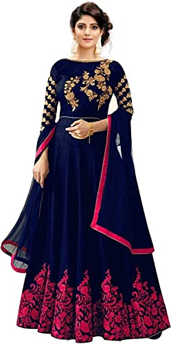 Women S Blue Satin Semi Stitched Havy Embroidered Work Gown With Duptta Free Size