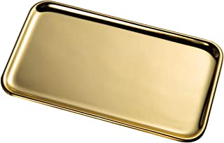 IMEEA Small Rectangle Serving Tray for Kitchen Bathroom SUS304 Stainless Steel, 20.5 x 11.5cm, 1-Piece (Gold)