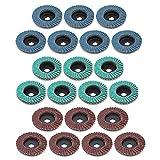 Yuhtech - Discos de lijado, de aleta, discos tipo ventilador, de 50 mm, grano 80, para amoladora angular, 21 unidades