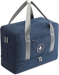 Bolsa de Viaje Bolsa de Deporte Plegable Bolsa de Gimnasio Bolsa de Natación para Playa Bolsa Portátil para Hombres/Mujeres con Compartimento para Zapatos Impermeable Poliéster Azul