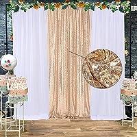 ホワイトチュール背景カーテン スパンコール 12フィート×7フィート 写真背景 カーテン 装飾 誕生日 ウェディング ベビーシャワー クリスマス パーティーデコレーション 3枚パック