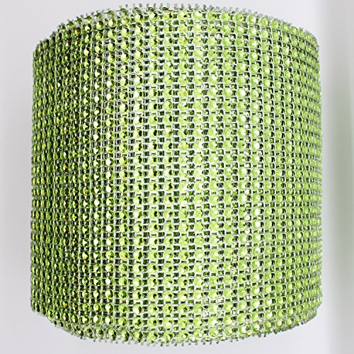 "Blinggasm 5 Yards X 4.75"" Diamond Mesh Wrap Roll Crystal Rhinestone Sparkle Bling Ribbon Choose Your Color (#22 Apple)"