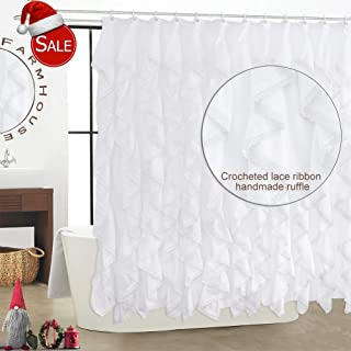 WestWeir White Ruffle Shower Curtain - Vertical Cotton Lace for Bathroom 72