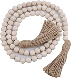 GOMYIE Wood Bead Garland Farmhouse Rustic Country Beads Holiday Decoration Wall Hanging Prayer Beads(Wood Color)
