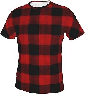 Camisas de hombre de manga corta Camiseta de manga corta Hip-Pop Pullover ropa de trabajo rojo negro búfalo a cuadros patrón