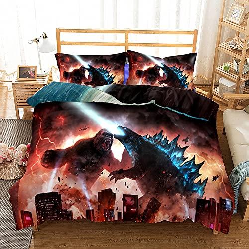 Probuk Juego de ropa de cama de Godzilla vs Kong, 100% microfibra, funda nórdica para niños y niñas, con funda de almohada (A-02, 135 x 200 cm (80 x 80 cm)