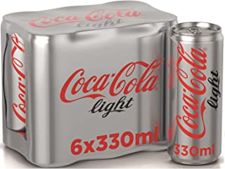Coca-Cola Light Carbonated Soft Drink , Can -330 ML (Pack of 6)
