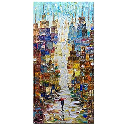 V-inspire Paintings, 24x48 Inch Modern Abstract Painting Romatic Street Oil Hand Painting Landscape 3D Hand-Painted On Canvas Abstract Artwork Art Wood Inside Framed Hanging Wall Decoration by V-inspire