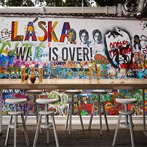 Fotomurali Fotomuralecarta Da Parati Gepersonaliseerd schilderij in Engelse graffiti kTV Negozio Dolci bar restaurant achtergrond muurbehang voor muur 3D About 150 * 105cm 2 Stripesb