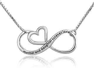 Infinity Mother Daughter Forever Love Sterling Silver Heart Necklace Pendant for Mom …