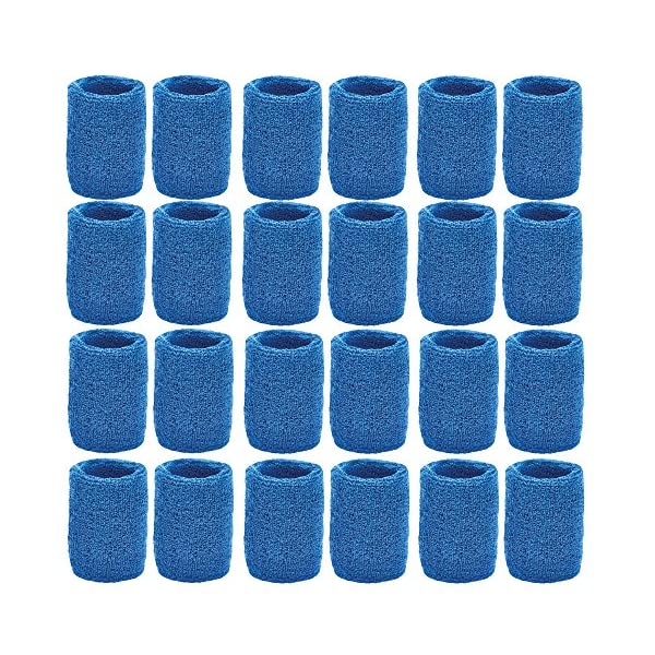 Unique Sports Athletic Performance Team Pack of 24 Wristbands (12 pair), Blue
