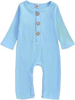 T TALENTBABY Strampler für Kleinkinder, Neugeborene, Babys, Jungen, Mädchen, Baumwolle, langärmelig, Einteiler, niedlich, einfarbig, Unisex, für 0-18 Monate