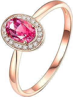 Daesar Anelli Oro Rosa Donna 18K, Anello Matrimonio Donna Anello con Tormalina 0.5ct Ovale con Diamante 0.06ct Anello Oro ...
