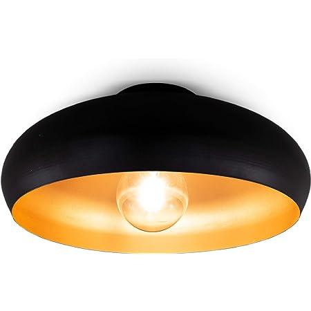 B.K.Licht plafonnier noir doré design rétro, éclairage plafond vintage, Ø395mm, pour ampoule LED ou halogène E27, ampoule non incluse