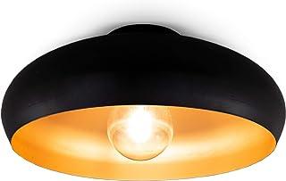 B.K.Licht I lámpara de techo I lámpara retro I vintage I E27 I 1 llama I negro-oro I Ø40cm I sin bombilla