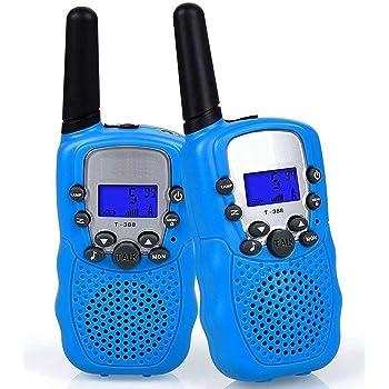 Flybiz Talkies Walkies, PMR446 8 Canaux,1 Paire Enfants Talkie Walkie 3 km de Long Distance Interphone Cadeau De Noël Enfants Jouets (Bleu)