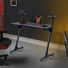 Home Office Gaming Desk/Computer Desk/Z-Shaped PC Desk Workstation with Carbon Fiber Surface and Headphone Hook