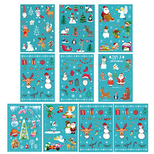 TOYANDONA 10pcs Christmas Luminous Tattoo Body Tattoo Stickers Cartoon Christmas Decals Holiday Cute Designs Stick Pattern Sownman Santa Claus Reindeer for Xmas Holiday Birthday Party Favors