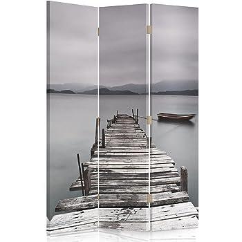 Feeby Frames Biombo Impreso sobre Lona, tabique Decorativo para Habitaciones, a una Cara, de 3 Piezas (110x150 cm), Puente, Lago, Gris: Amazon.es: Hogar