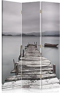 Feeby Frames Biombo Impreso sobre Lona, tabique Decorativo para Habitaciones, a una Cara, de 3 Piezas (110x150 cm), Puente, Lago, Gris
