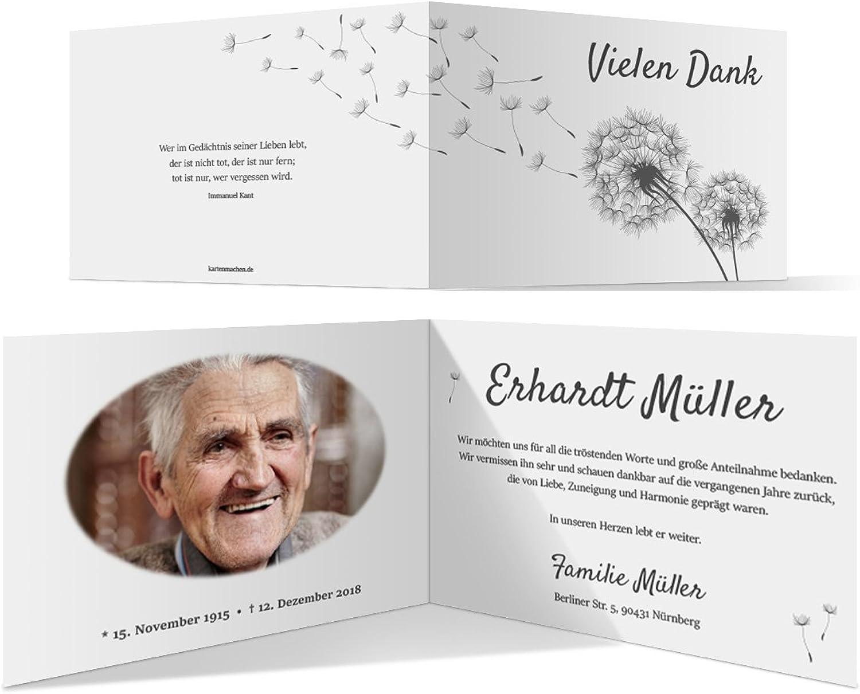60 x Trauer Dankeskarten Danksagung Danksagungskarten Trauerkarten individuell - Löwenzahn B07BHNMLB7 | Modernes Design
