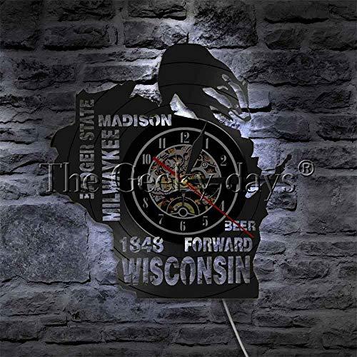 Vinyl Schallplatte Wanduhr Bad State Wandkunst Milwaykee Madison Billward Bier Wisconsin Vinyl Uhr LED Beleuchtung Herren Bar und Höhle Wanduhr