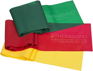 TheraBand Resistance Band Set, Professional Latex Elastic Bands for Upper & Lower Body & Core Exercise, Physical Therapy, Lower Pilates, At-Home Workouts, and Rehab, Yellow & Red & Green, Beginner Set