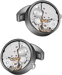 MERIT OCEAN Cufflinks Steampunk Watch Movement Shape Cufflinks for Men Mens Shirt Vintage Gears Watch Cuff Links Business Wedding Gifts with Gift Box
