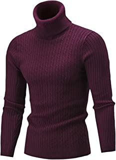 Cameinic Men's Casual Slim Fit Turtleneck Pullover Sweaters with Twist Patterned
