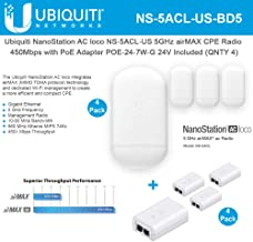 NanoStation AC loco NS-5ACL-US Loco5ac 5GHz 802.11ac airMAX CPE Radio 450Mbps Wireless Access Point (4-Pack) with PoE POE-24-7W-G Included (4-Pack)