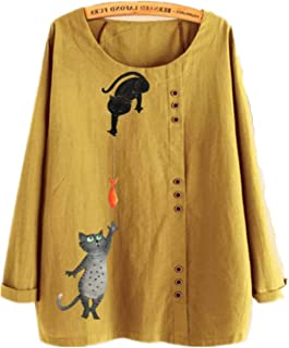 TT WARE Button Cartoon Cat Print O-Neck Casual Blouse Shirts-Yellow-18