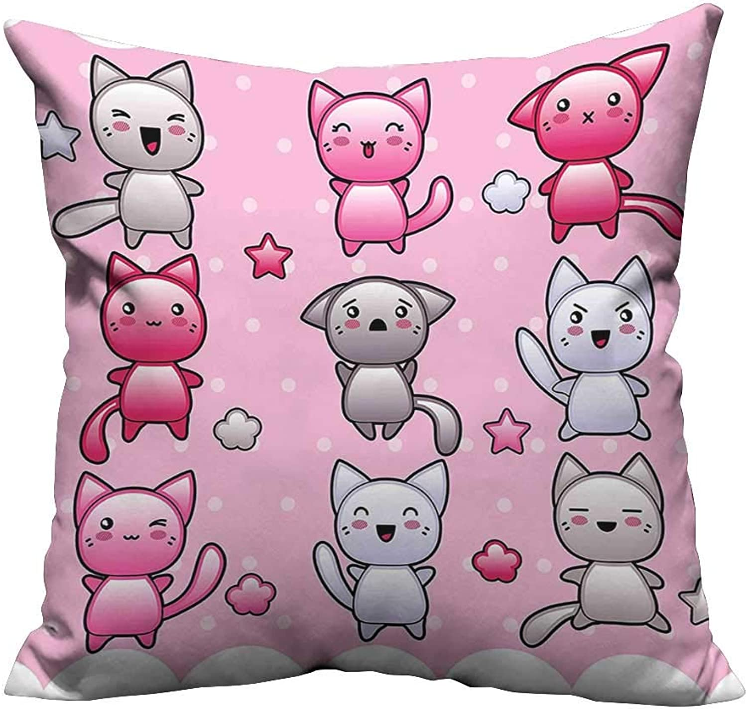 Alsohome Super Soft Pillowcase Kids Cute Kitty Doodl Funny Animal Theme Japan bluee Purple Resists Stains 31.5x31.5 inch(Double-Sided Printing)