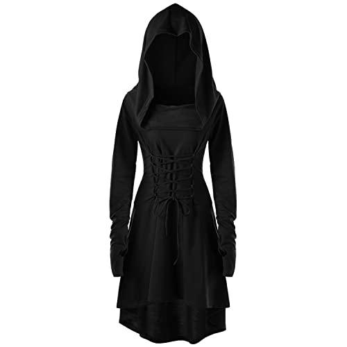 0a87e4c1fe Eastlife Womens Halloween Costumes Hooded Robe Lace Up Vintage Pullover  High Low Long Hoodie Dress