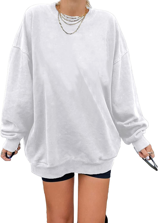 BLENCOT Womens Sweatshirt Loose Solid Color Crewneck Long Sleeve Casual Basic Pullover Tops