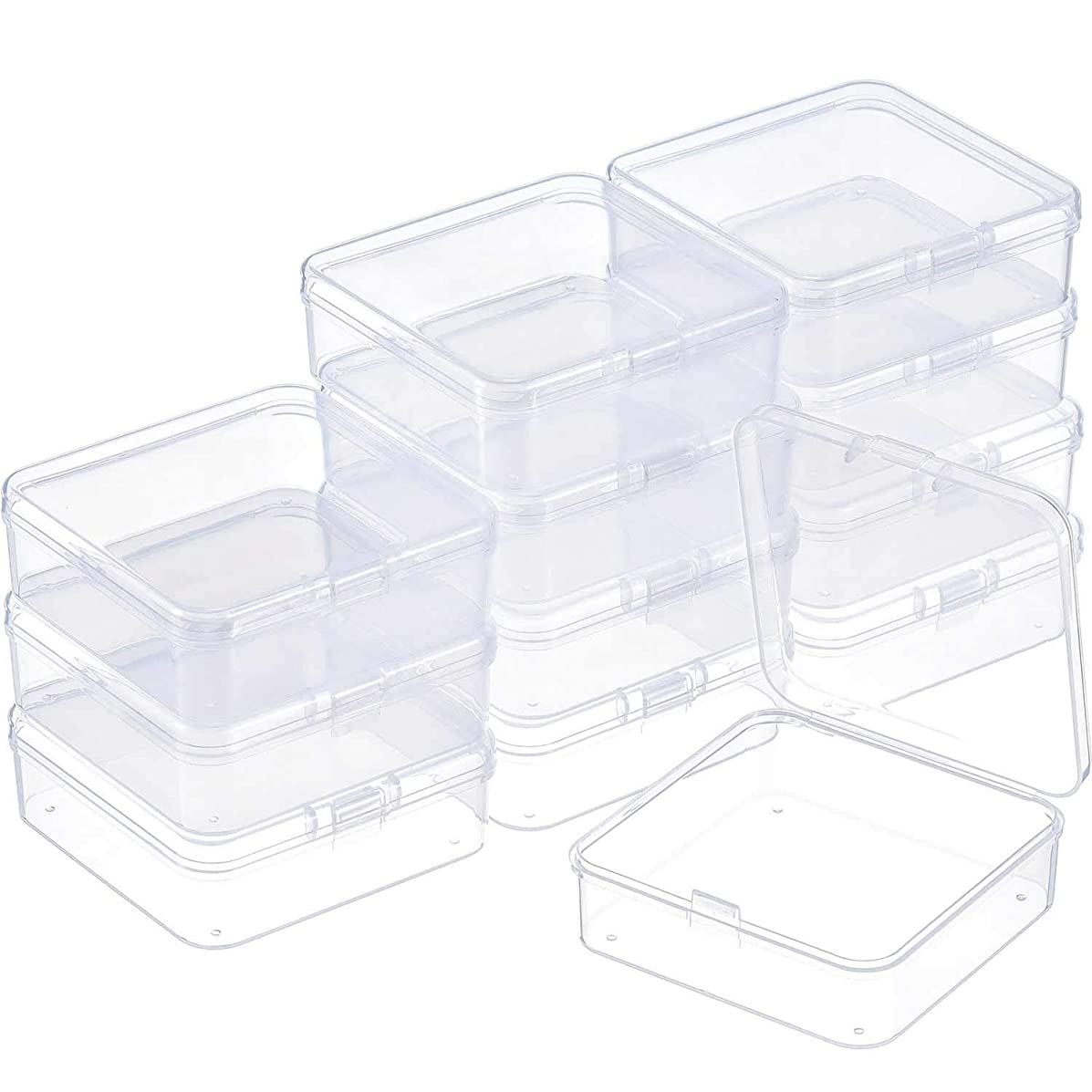 SATINIOR 12 Pack Clear Plastic Beads Storage Containers Box with Hinged Lid for Beads and More (2.9 x 2.9 x 1 Inch)