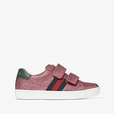Gucci Kids New Ace V.L. Sneakers (Little Kid) (Medium Green/Rose) Kids Shoes