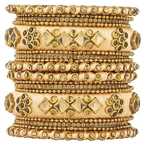 SataanReaper Presents Ethnic Beautiful Handmade Silk Thread Stone Studded Matching Bangle Chuda Set Fashion Jewellery for Women Girls, Size - 2.6#SR-1623