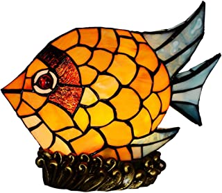 PeaceipUS Vintage Fish Small Night Light, Stained Glass Kids Table Lamp with Resin Base,Mini Decoration Table Lights